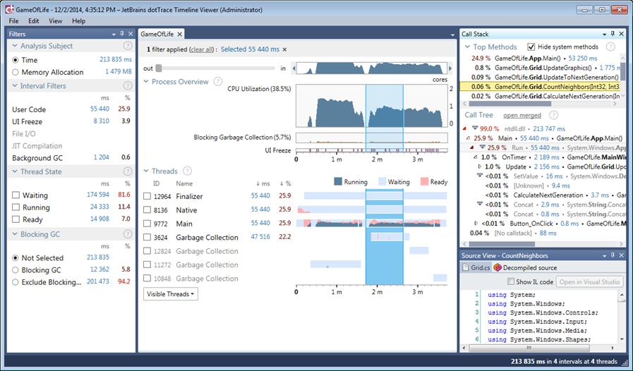 dotTrace 6 timeline profiling using ETW analyzes threads, memory, I/O