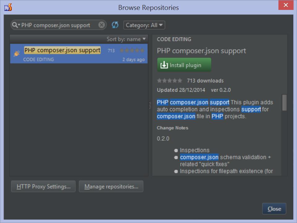 Install Composer.json plugin for PhpStorm