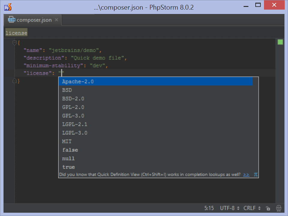 Composer.json completion for property values in PhpStorm IDE