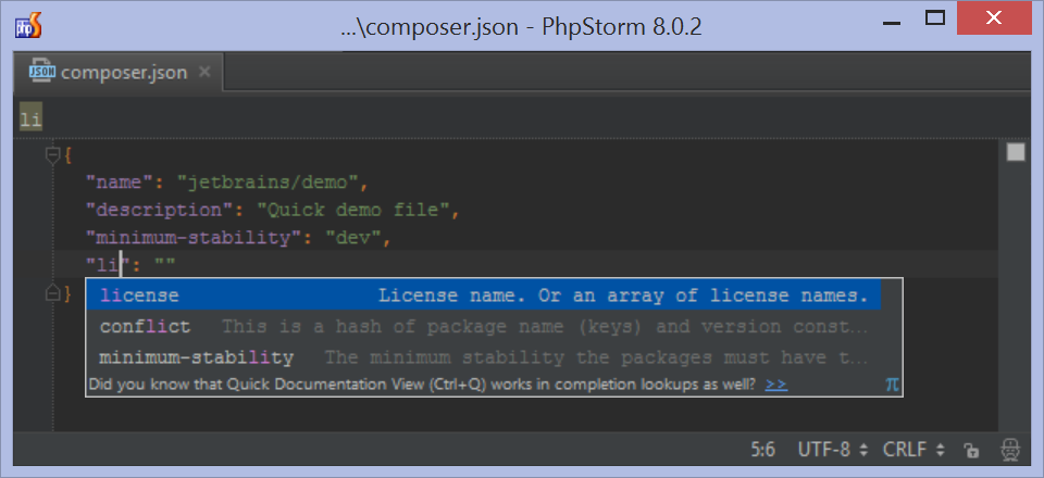 Composer.json property auto complete in PhpStorm