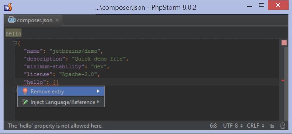 Inspect composer.json schema
