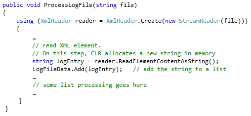 Code example for log file processing