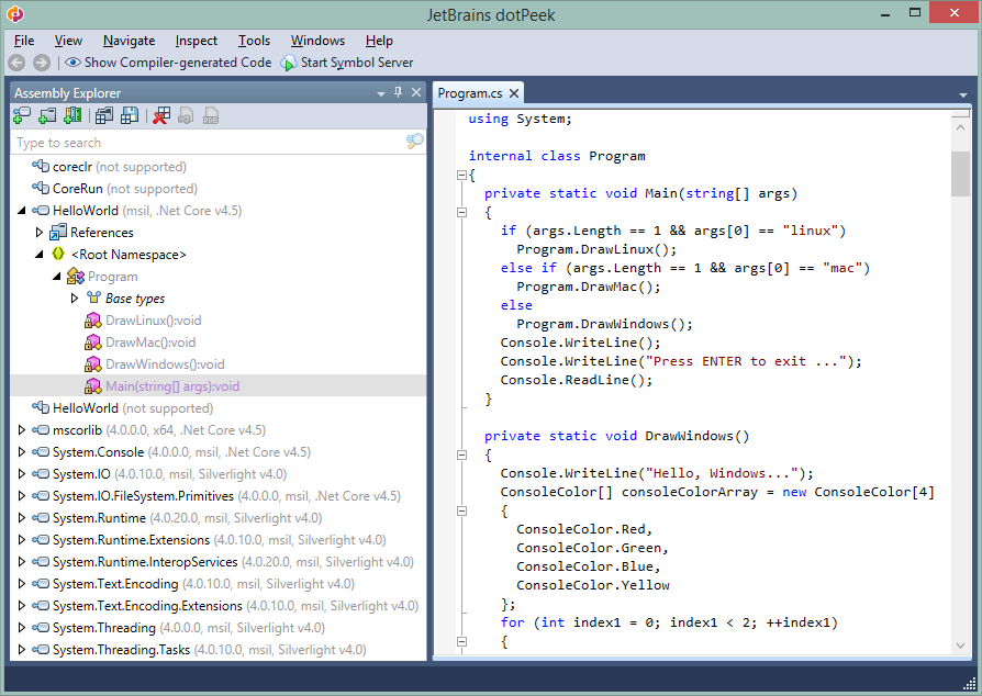 dotPeek showing decompiled code