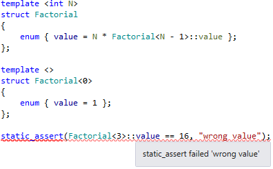 static_assert checking in ReSharper C++