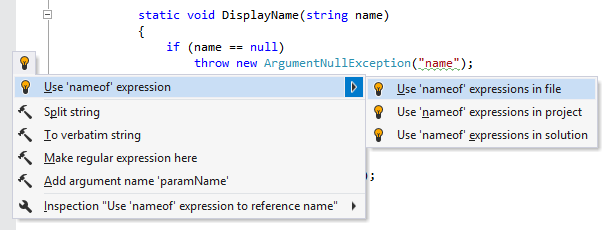 Quick-fix to use nameof operator
