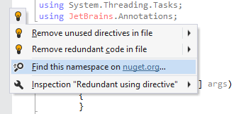 Obtaining references from nuget.org in ReSharper 9.1