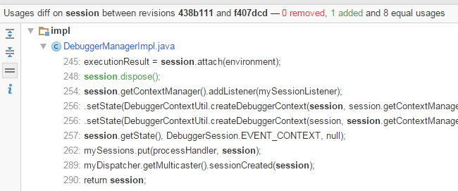 Comparing usages of Java code across two revisions