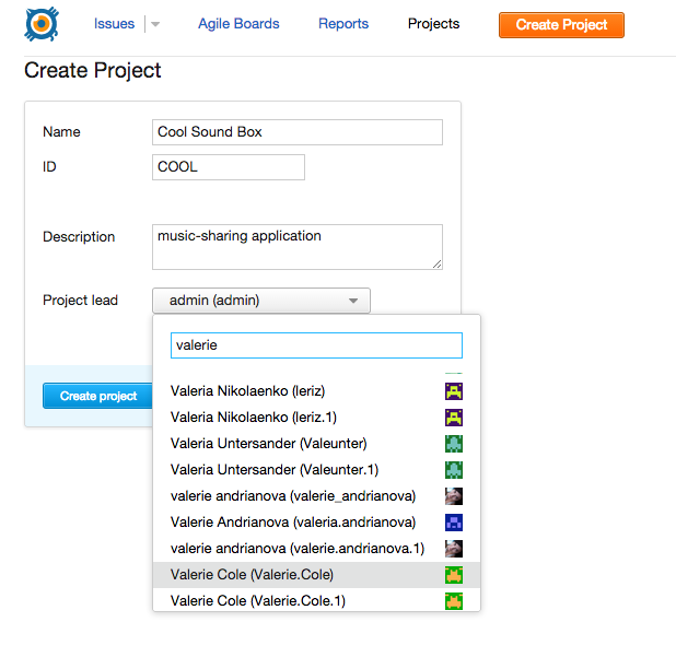 Create project wizard