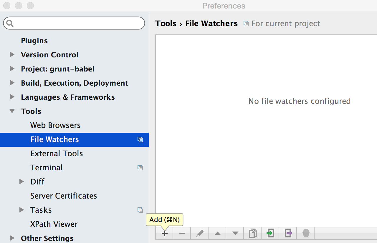 Add file watcher in Preferences