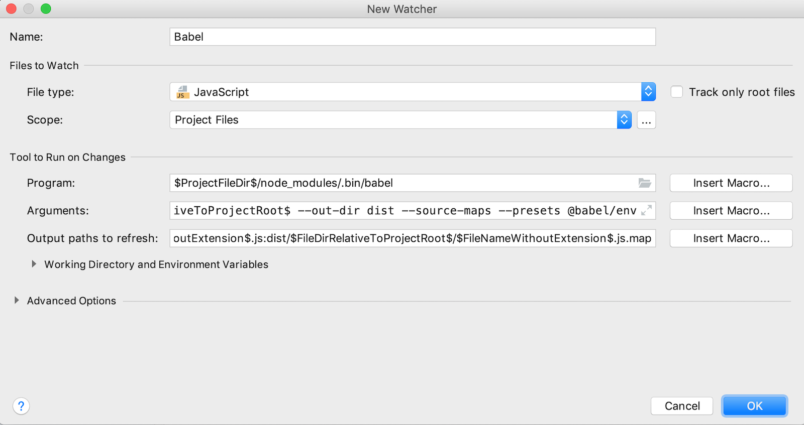 File watcher setup for Babel