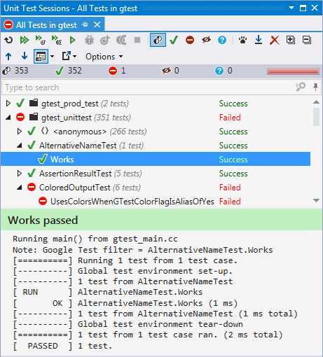 ReSharper C++ 1.1 can run unit tests based on Google Test framework