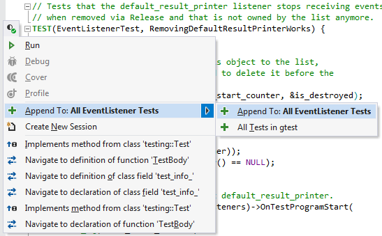 Invoke tests or test cases from a ReSharper C++ context menu
