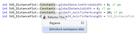 Introduce namespace alias refactoring