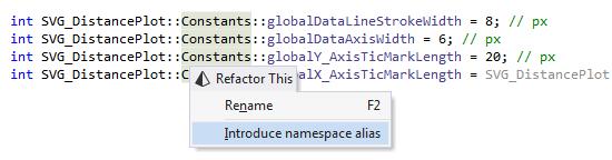 Introduce namespace alias refactoring