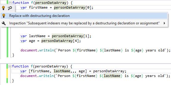 Destruct declaration quick-fix