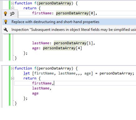 Destruct shorthand properties quick-fix