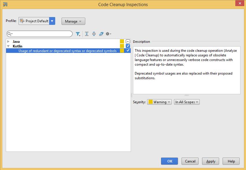 Kotlin Code Cleanup Profile