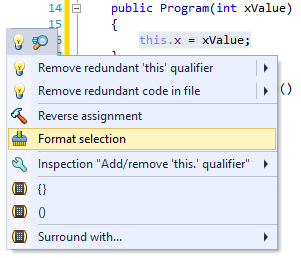 Format code selection