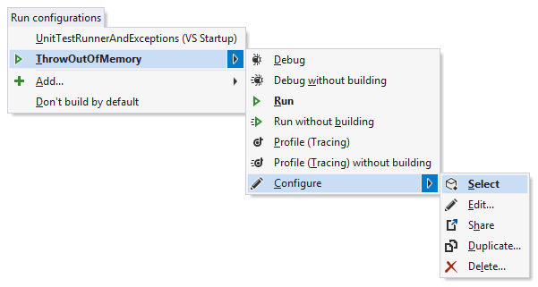 A run confgiration's Configure menu