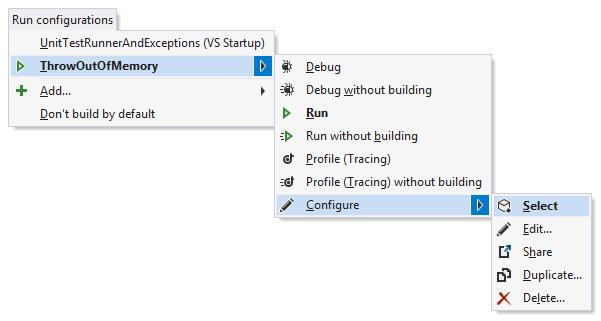 A run confgiration's Configure menu