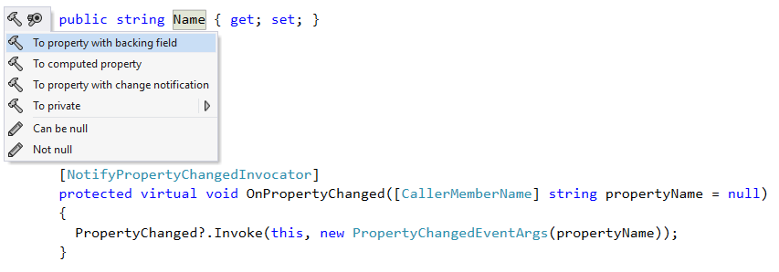 Extra alt+enter menu items for INotifyPropertyChanged
