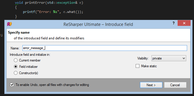 Introduce Field refactoring in ReSharper C++