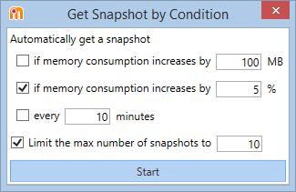 Get snapshot by condition in dotMemory