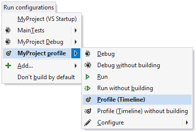 Quick profiling of a run configuration