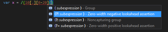 Regular expression support for JavaScript in ReSharper 9.2