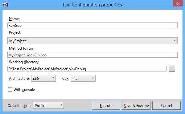 Run configuration properties