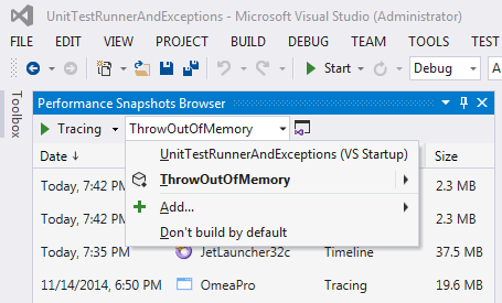 Performance Snapshots Browser
