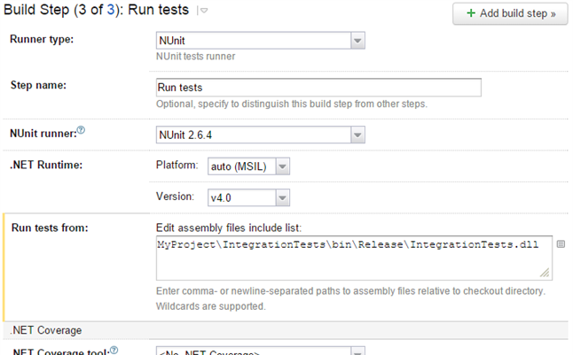 TeamCity Unit Test Build Step