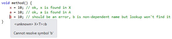 ReSharper C++ unqualified dependent lookup error