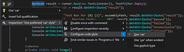 Configuring code style from the bulb menu in ReSharper 10