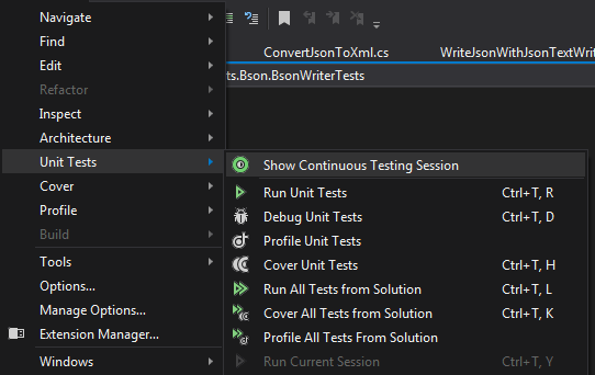 Starting a Continuous Testing session