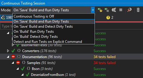 Continuous Testing Session tool window