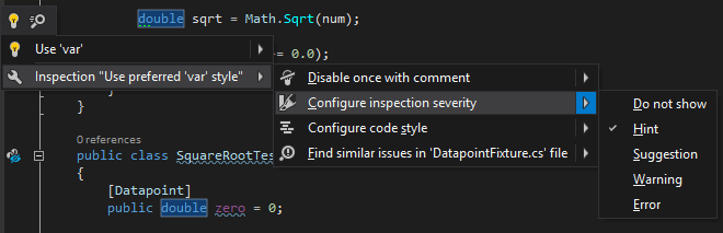 Configuring inspection severity from bulb menu in ReSharper 10