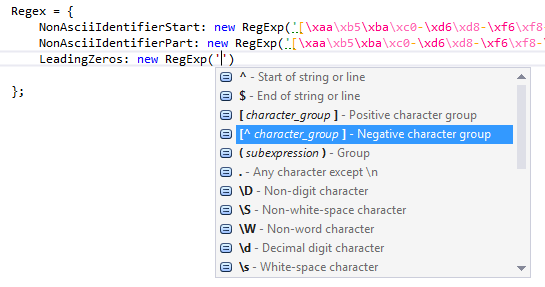 JavaScript regular expressions via RegExp objects