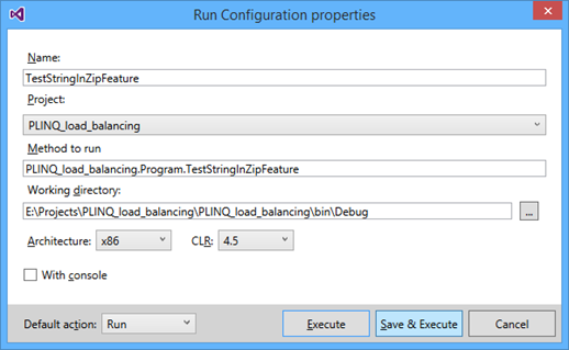 Run configuration properties
