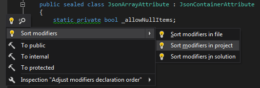 A quick-fix to improve the order of modifiers