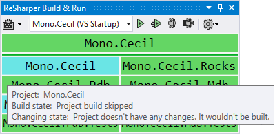 ReSharper Build and Run tool window showing tooltips for status