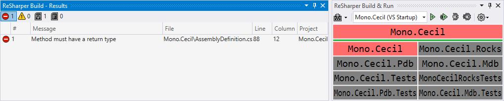 Build results list tool window