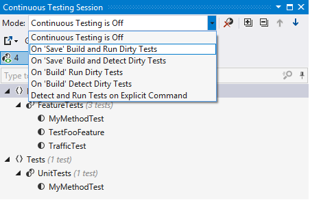 Select continuous testing mode