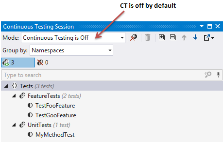 Continuous testing is off by default