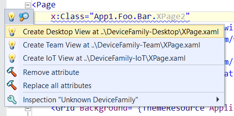 Quick fixes to support device family-specific XAML views in UWP applications