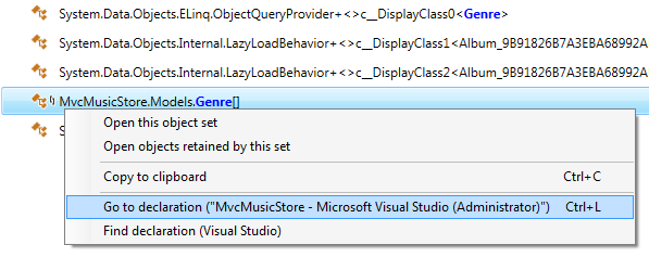 Go to type declaration in Visual Studio from dotMemory