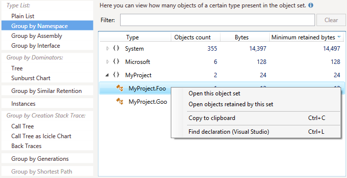 Find declaration context menu