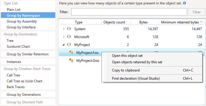 Find declaration context menu