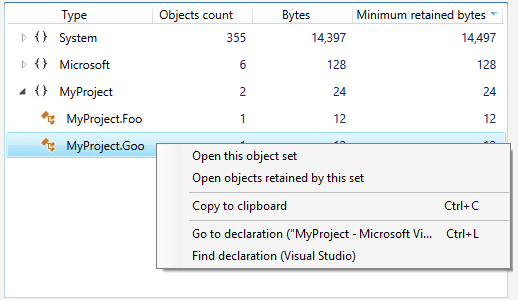 Go to declaration context menu