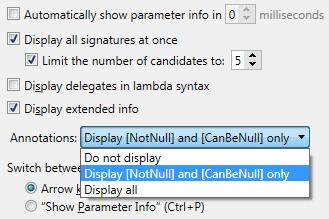 Parameter Info configuration